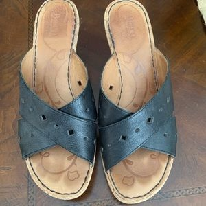 Born black leather wedge sandals